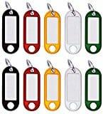 10 Stück Schlüssel-Anhänger Kunststoff, Schlüsselschilder zum Beschriften, mit Ring, auswechselbare Etiketten, in schwarz, rot, gelb, weiß, grün